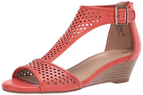 - Aerosoles Women's Sapphire Wedge Sandal, Orange Leather, 7.5 W US