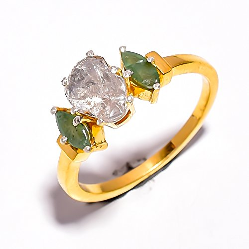 - Natural Rose Cut Diamond Emerald Pave Victorian 925 Sterling Silver Ring 7.5 US