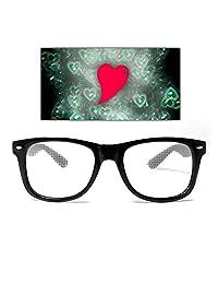 GloFX Heart Ultimate Diffraction Glasses - Black - Rainbow Fireworks Hearts