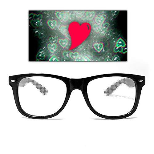 GloFX Diffraction Glasses Heart Effect Lens - Black - Rave 3D Prism EDM Rainbow Festival Kaleidoscope Fireworks See Hearts