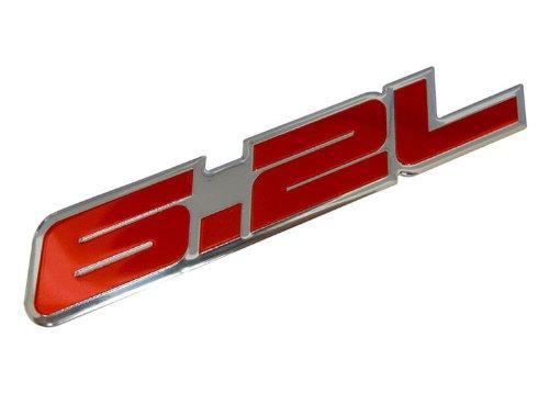 6.2L Liter RED Highly Polished Aluminum Silver Chrome Car Truck Engine Swap Badge Nameplate Emblem for Chevrolet Van GMC C K Trucks American Motors AM General Hummer H1 HMMWV GM General Motor CUCV
