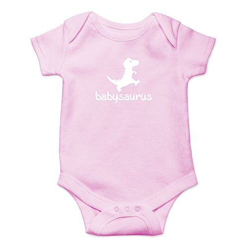 Crazy Bros Tees Babysaurus - Little Baby Dino Funny Cute Novelty Infant One-Piece Baby Bodysuit (12 Months, Pink)