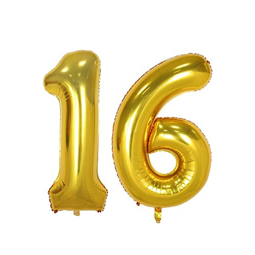40inch Gold Number 16 Balloon Party Festival Decorations Birthday Anniversary Jumbo foil Helium Balloons Party Supplies use Them as Props for Photos (40Iinch Gold Number 16) for $<!--$9.99-->