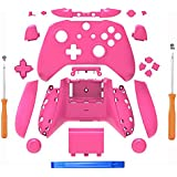 SN-RIGGOR Replacement Housing Full Shell Set Full Buttons Set Faceplates ABXY Buttons RB LB Bumpers for Xbox One S Slim Controller (3.5 mm Headphone Jack) S Controller Repair Parts (Pink)