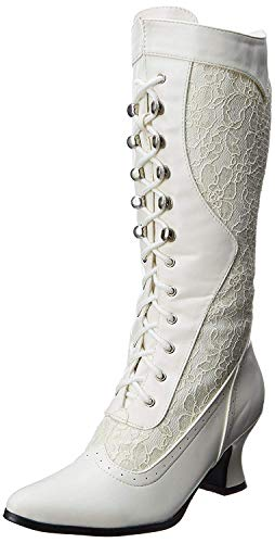 Ellie Shoes Women's 253 Rebecca Victorian Boot, White, 10 M US
