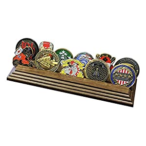 2 Row Challenge Coin Holder - Military Coin Display Stand - Amazing Military Challenge Coin Holder - Holds 10-15 Coins 2 Rows Made in The USA! (Solid Walnut) from Coins For Anything Inc