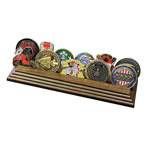 2 Row Challenge Coin Holder - Military Coin Display Stand - Amazing Military Challenge Coin Holder - Holds 10-15 Coins 2 Rows Made in The USA! (Solid Walnut)