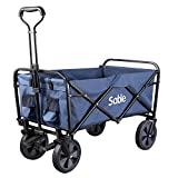 Sable Garden Cart Folding Wagon Foldable Heavy Duty Outdoor Trolley Utility Transport Cart 100kg Max Load, for Outdoor/Festivals/Camping, Blue