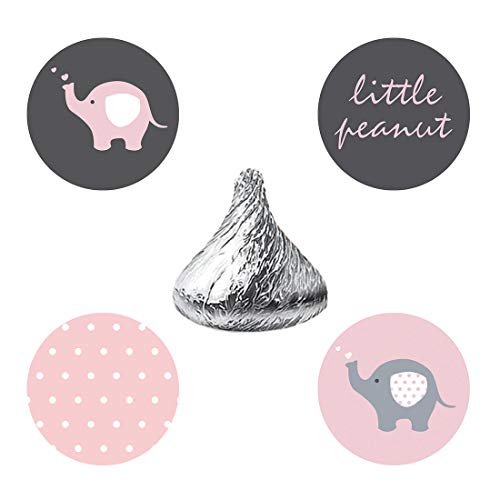 MAGJUCHE Pink and Grey Elephant Candy Stickers, Little Peanut Girl Baby Shower or Birthday Party Favor Labels, Fit Hershey's Kisses, 304 Count]()