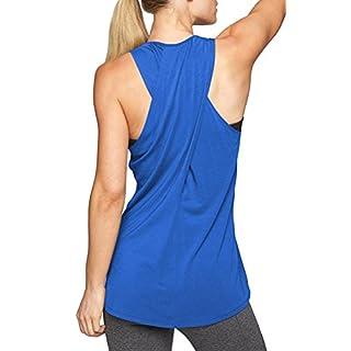 EachEver Women's Cross Back Sleeveless Workout Shirt Active Yoga Tank Top Blue M
