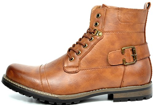 Bruno Marc Mens Military Motorcycle Combat Boots Brown-5 72vMm