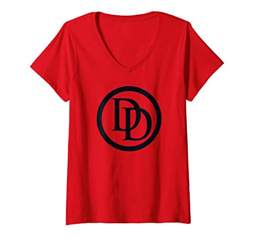 Womens Marvel Daredevil All Black Logo V-Neck T-Shirt