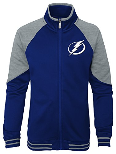 Outerstuff NHL Tampa Bay Lightning Youth Girls Faceoff Full Zip Jacket, Large(14), Dark Blue