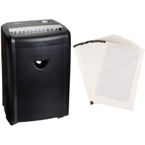 AmazonBasics 12-Sheet High-Security Micro-Cut Pape Shredder with Pullout Basket and Shredder Sharpening & Lubricant Sheets (Pack of 12) Bundle by AmazonBasics
