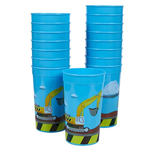 Plastic Party Cups - 16-Pack Reusable Tumblers, 16 Oz Construction Party Cups,