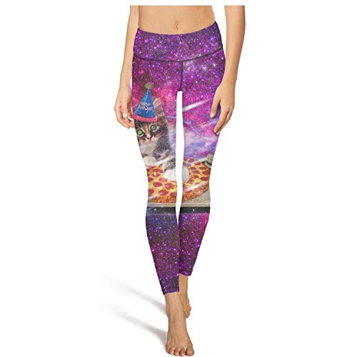 Long Camping Purple Galaxy Space Pizza DJ Cat Leggings Womens Sweat-Wicking Activewear Yoga - Crawl Space Jumpsuit