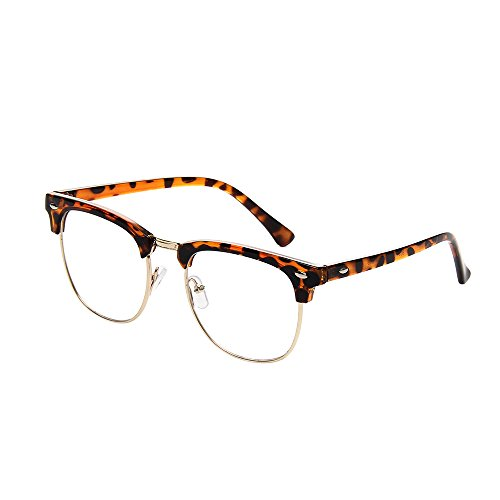 (Shiratori New Vintage Classic Half Frame Semi-Rimless Clear Lens Glasses Leopard)