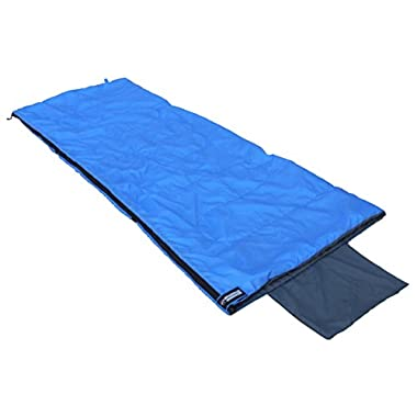 OutdoorsmanLab Compact Lightweight Camping Sleeping Bag Men's Women's Kid's For Backpacking, Hiking, Travel- Warm Weather Ultralight Packable bag with Compression Sack, Pillow case, Blue