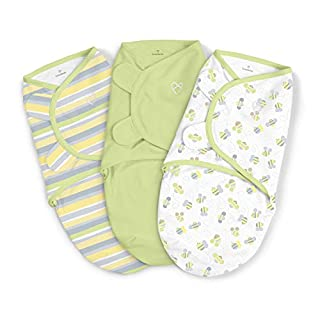 SwaddleMe Original Swaddle – Size Small/Medium, 0-3 Months, 3-Pack (Busy Bees )