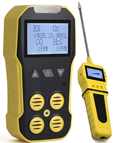 Basic MULTIGAS + Pump Analyzer, Detector, Meter by Forensics | O2, CO, H2S, LEL | USB Recharge | Sound, Light & Vibration Alarms | Large Display & Backlight ()