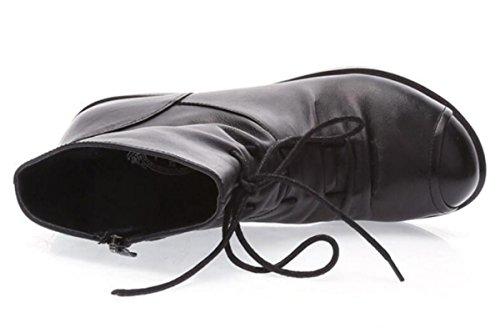 Bottes En Cuir De Nouvelles Femmes Rétro Martin Bottes Tête Ronde Simple Rugueuse Avec Des Chaussures Féminines Mince Confortable Talon En Caoutchouc Carré