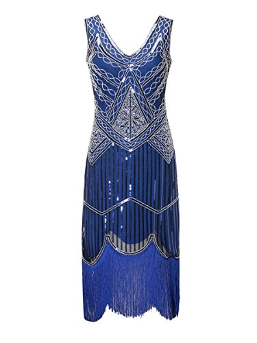 - Zhisheng You Roaring 20s Women's Vintage 1920s Sequin Beaded Tassels Flapper Dress V-Neck Fringed Gatsby Costume Dress (S, Blue)