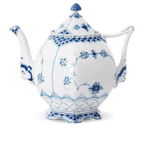 BLUE FLUTED FULL LACE LARGE TEAPOT-8 CUP
