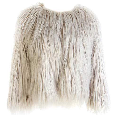 (Dikoaina Women's Solid Color Shaggy Faux Fur Coat Jacket Grey)