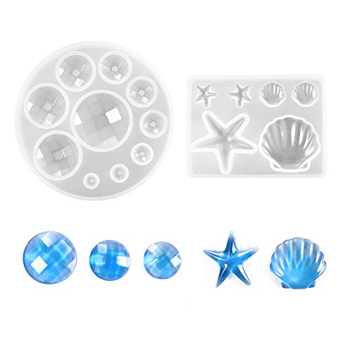 Daimay Jewelry Casting Molds Silicone Pendant Mold Resin Molds Jewelry Making DIY Craft Tools - Gem/Starfish/Shell