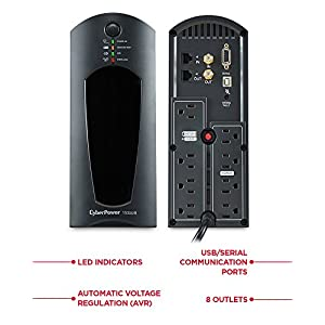 CyberPower CP1500AVRT AVR UPS System, 1500VA/900W, 8 Outlets, Mini-Tower