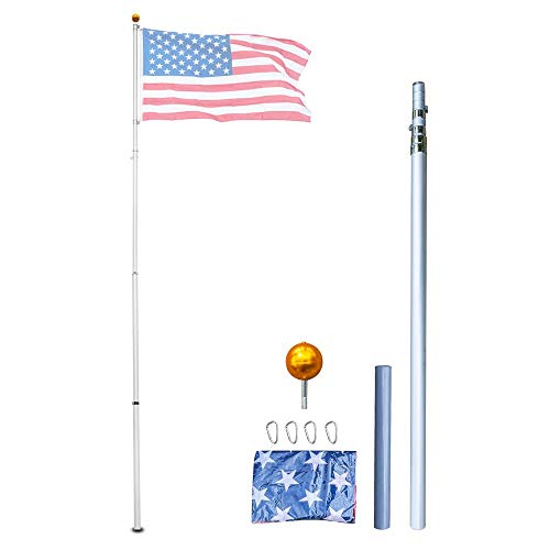 Supole Heavy Duty 20FT Telescoping Flag Poles kit Can Fly
