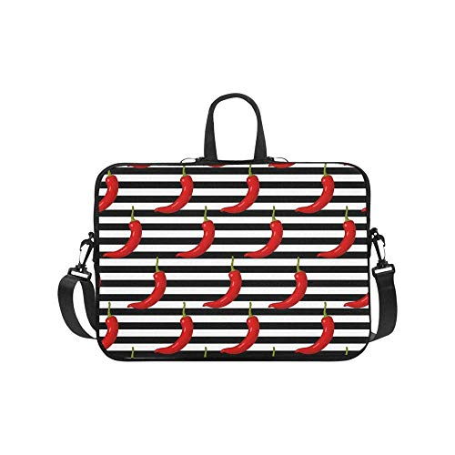 Funny Chili Red Pepper on Black and White Stripes and Lines Waterproof Neoprene 17 17.3 Inch Laptop Sleeve Case Shoulder Bag with Handle & Strap for Dell HP Thinkpad Acer Woman Man
