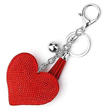 Diseño romántico Amor Corazón Llavero Mujeres Rhinestone ...