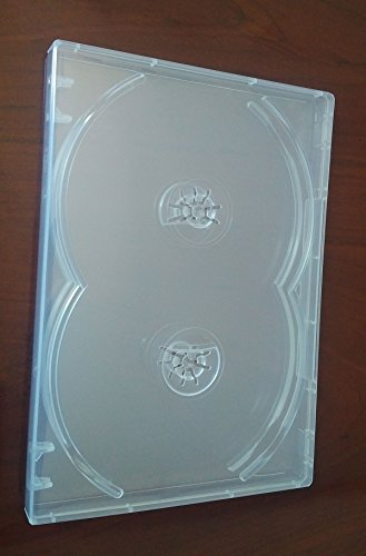 2 Pack Crystal Clear Standard Size 4 DVD Case Box 14mm Four Discs Holder W Flap by MegaDisc