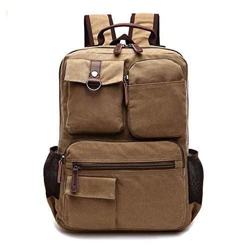 FHGJ Men Canvas Backpack15.6 Inch Computer Laptop Backpacks Male Vintage  Military Back Pack Traver 721c4d6e771db