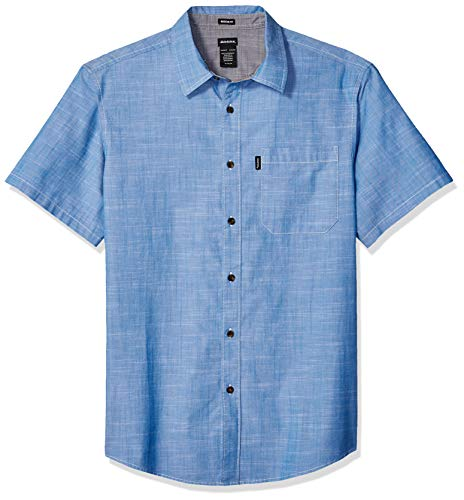 Dickies Men's Short Sleeve Chambray Shirt with Contrast Collar, Light Washed, M