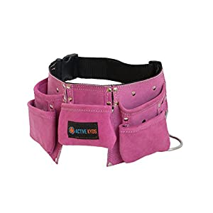 PINK Active Kyds Kids Leather Tool Belt / Tool Pouch for Costumes Dress Up Role Play - 41AVaatiD3L - Active Kyds Leather Kids Tool Belt / Child's Tool Pouch for Costumes Dress Up Role Play (Pink)