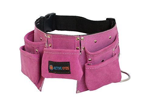 [Active Kyds Leather Kids Tool Belt / Child's Tool Pouch for Costumes Dress Up Role Play (Pink)] (Tool Belt Costume)
