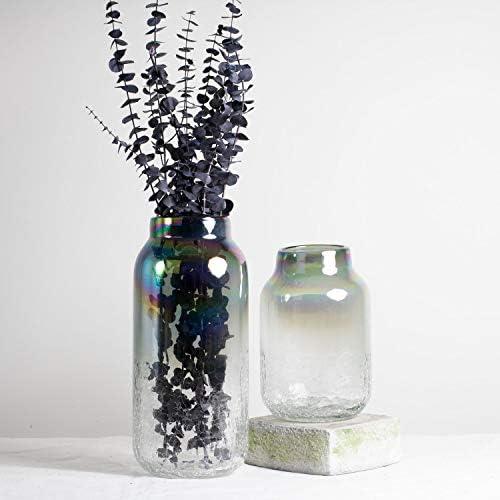 Iridescent Crackle Glass Vase Large