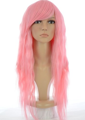 Nicki Minaj Style Long Pink Crimped Wig | Pink Wavy Rock Chick Wig | Contrast Straight Side Bangs (Blonde Nicki Minaj Wig)