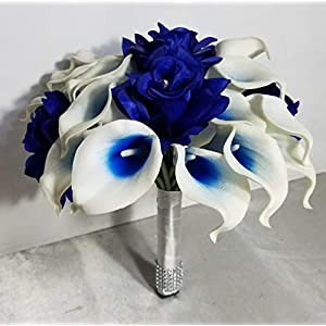 Royal Blue White Calla Lily Rose Bridal Wedding Bouquet & Boutonniere 67