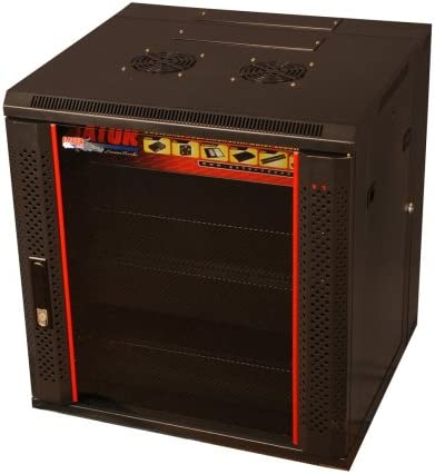 Gator Cases GR-WF4B1217TD-12U 17-Inch Deep Fixed Wall Mounted Rack with Vented Glass Front Door Included Black