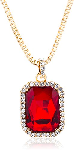 Goldtone-or-Silvertone-Red-Square-Pendant-24-Inch-Box-Necklace