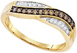 10kt Yellow Gold Womens Round Cognac-brown Colored Diamond Band Ring 1/4 Cttw