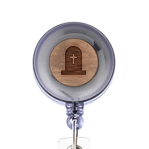 Cross Tombstone Badge Holder with Retractable Reel and Clip, Laser Engraved Wood Design, Custom Badge Holder, Corporate (Cute Halloween Tombstone Sayings)