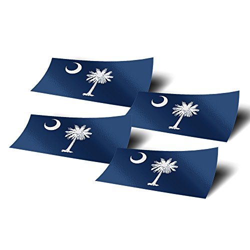 South Carolina SC 4 Pack of 4 Inch Wide State Flag Stickers Decal for Window Laptop Computer Vinyl Car Bumper Scrapbook 4