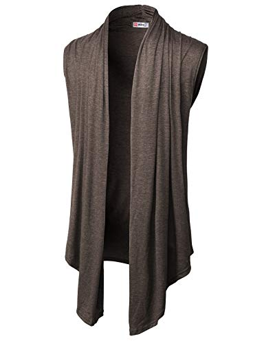 (H2H Mens Casual Shawl Collar Open Front Sleeveless Long Cardigan Vest HEATHERBROWN US 3XL/Asia 4XL (CMOCASL01))