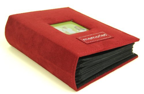 4'' X 6'' Memories Embroidered - 100 Pocket Patch Faux Suede Photo Album, with Frame, Burgundy
