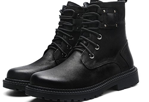 LINYI Men'S Genuine Leather Casual Martin Boots First Floor Cowhide Pure Wool Tooling Shoes Black tqLRAfL