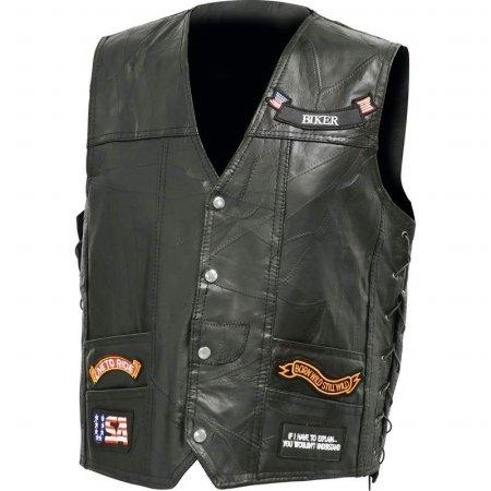 BNFUSA GFV14LEDXL Italian Stone Design Genuine Buffalo Leather LED Vest - XL